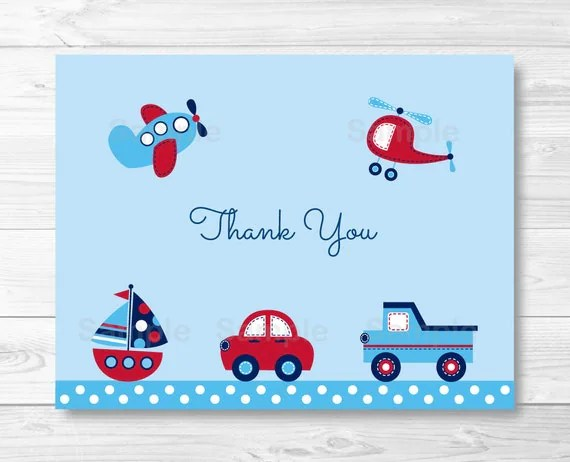 Transportation Vehicles Thank You Card / Folded Card Template / Car