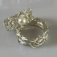 His and Hers wedding rings Filigree Wedding Ring Sets Pearl