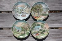 Set of 4 Decorative 6 1/2 Plates Currier and Ives from