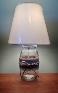 Mason Jar Table Lamp with burlap and denim wrap Small Table