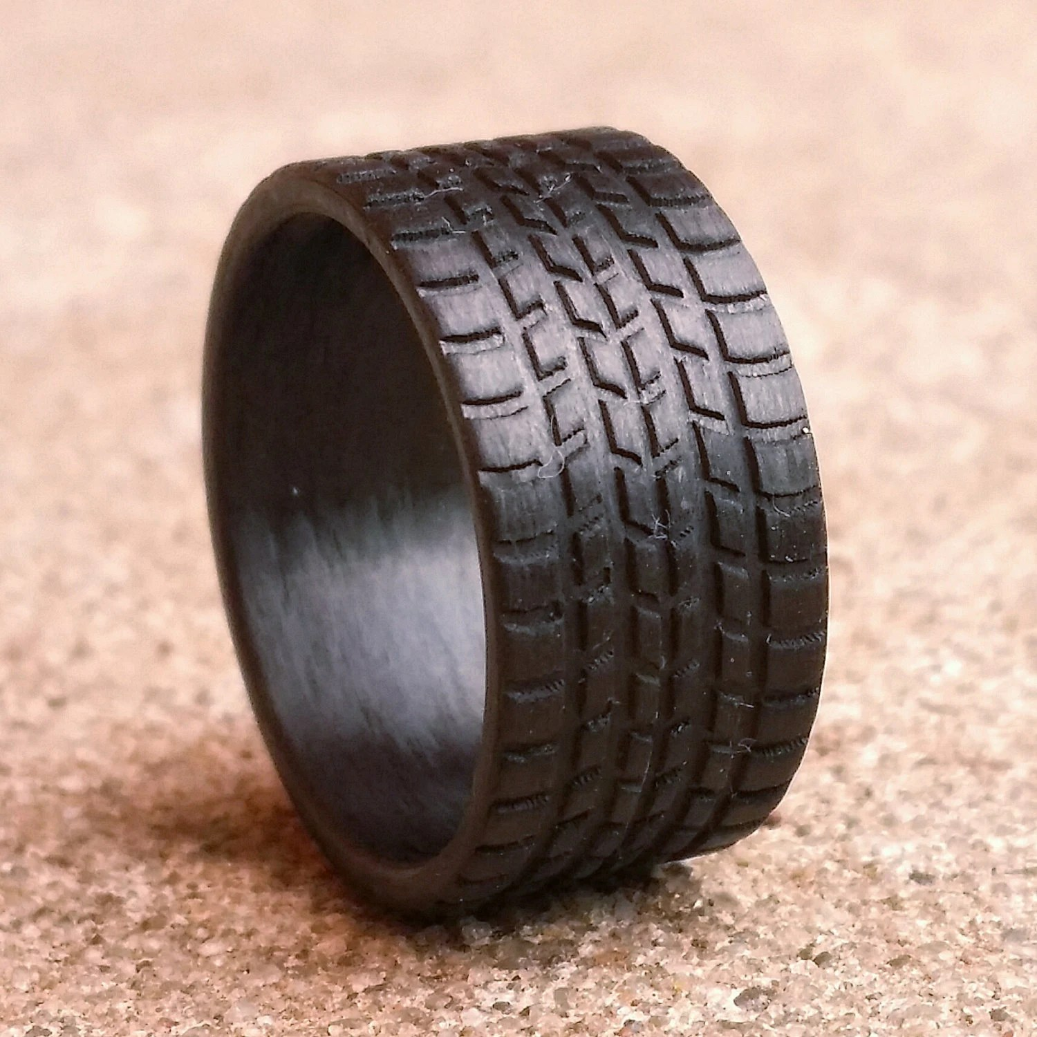 tire tread ring mud tire wedding ring Sport Tread 10mm wide Carbon Fiber Tread Ring Strong Light Weight Wedding Ring Comfort fit Durable Finish