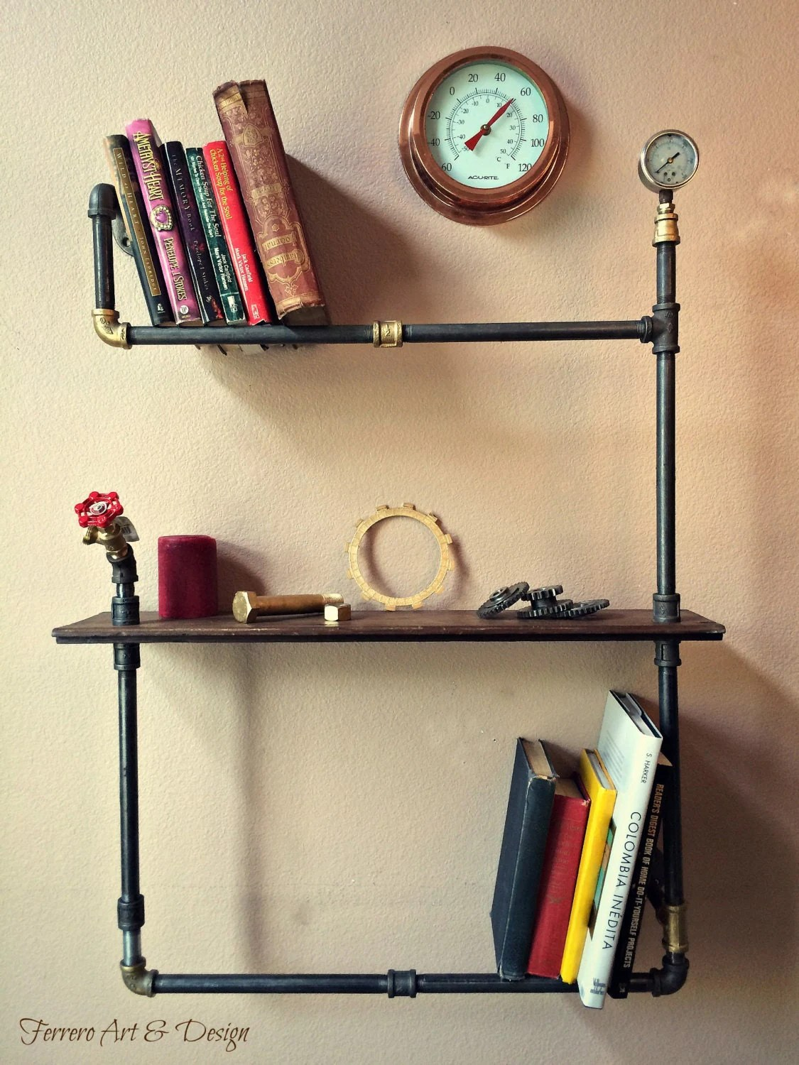 Steampunk Wall Shelves Steampunk Shelf Unique Wall Decor Industrial By