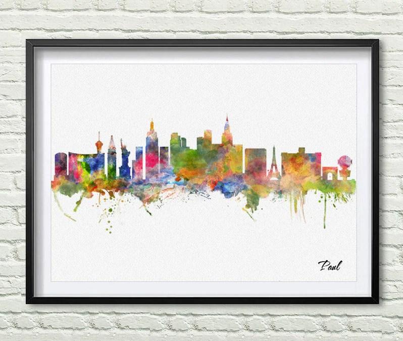 Las Vegas skyline city Watercolor art print wall art wall