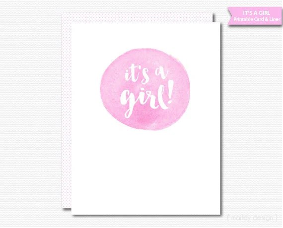New Baby Girl Printable Card It\u0027s A Girl Calligraphy Watercolor - baby congratulation card