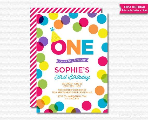 Colorful First Birthday Invitation Polka Dots Girls Birthday Bright