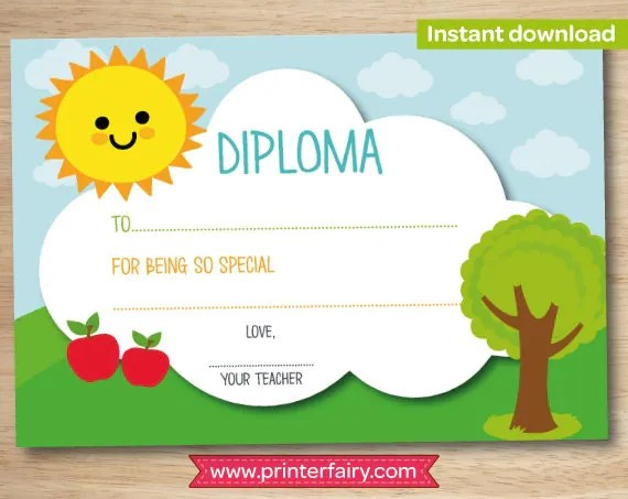 Preschool diploma, last day of preschool, preschool graduation gift - Printable Preschool Diplomas