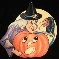Halloween cardboard cut out decoration 1950s witch vintage