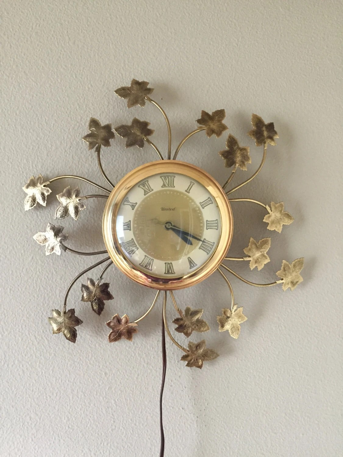 Atomic Wall Clocks Made In Usa Vintage United Wall Clock Leaf Wall Clock Electric Wall
