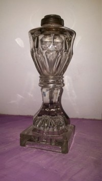 Rare Antique Whale Oil Lamp Flint Glass Ashburton Thumb print