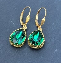 Emerald Swarovski Crystal Earrings May Birthstone Emerald