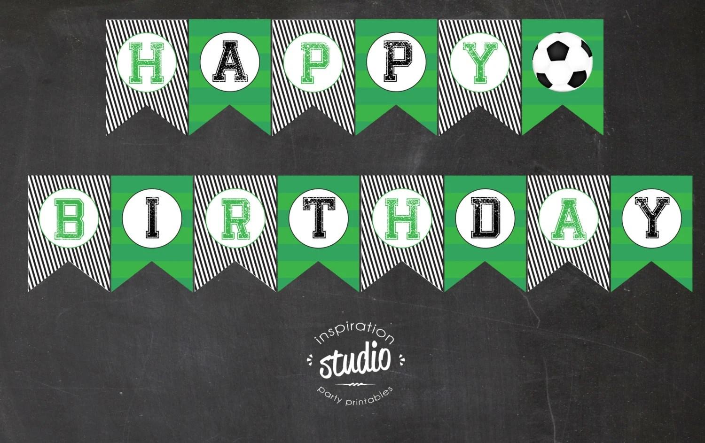 Soccer Printable Happy Birthday Flag Pennant Banner - Instant