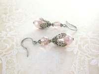 Light Pink Pearl Earrings Swarovski Crystal Earrings Pale