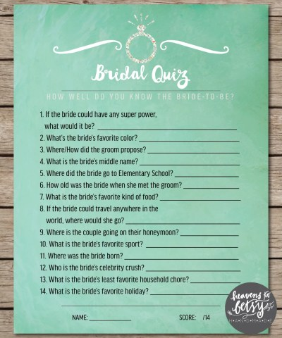 Mint Watercolor Bridal Quiz Bridal Shower & Wedding Game