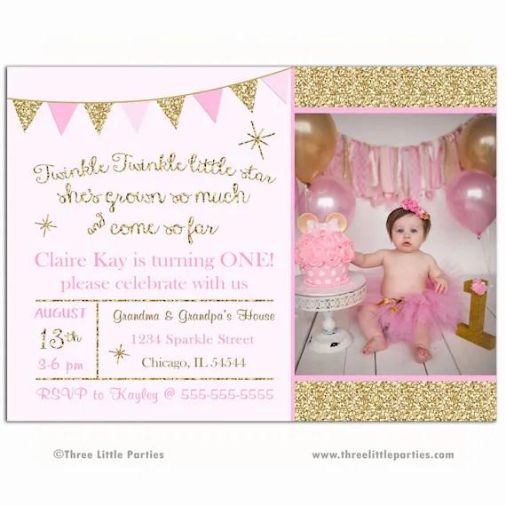 Twinkle Twinkle Birthday Invitation, Glitter Invitation, Sparkle