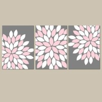 PINK GRAY Wall Art Bedroom Pictures CANVAS or Prints