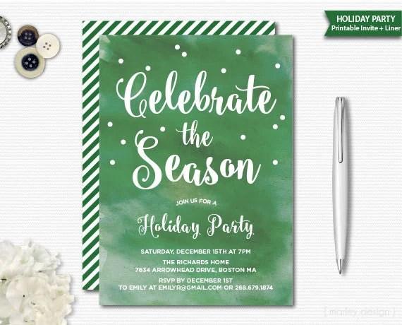 Watercolor Christmas Invitation Christmas Party Holiday Invitation - holiday party invitation