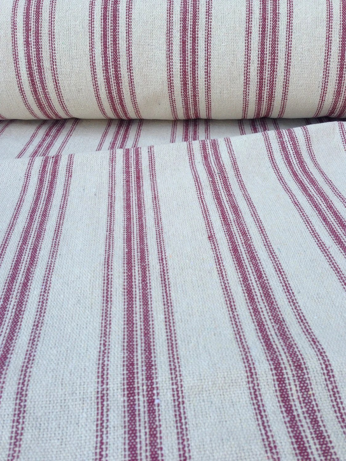 Flour Sack Fabric By The Yard Grain Sack Fabric Sold By The Yard Red Stripes Vintage