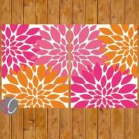 Instant Download Pink Orange Floral Wall Art Flower Burst