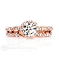 Moissanite Engagement Ring Wedding Set Wedding Band Diamond