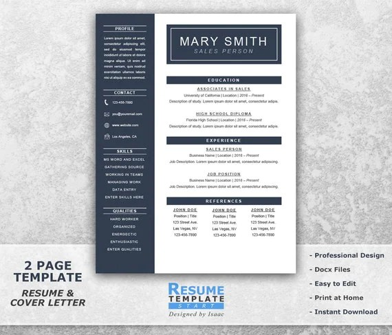 One Page Resume Template Word Resume Cover Letter Templates - template for resume cover letter