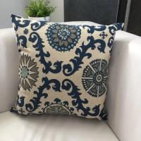Indigo Blue and Gray Pillow Blue Medallion Pillow Cover
