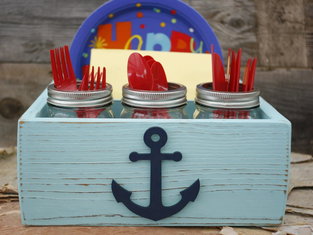 Picnic Paper Plate Napkin Holder Box Caddy Anchor Nautical & Amazing Picnic Paper Plate Napkin Holder Box Caddy Anchor Nautical ...