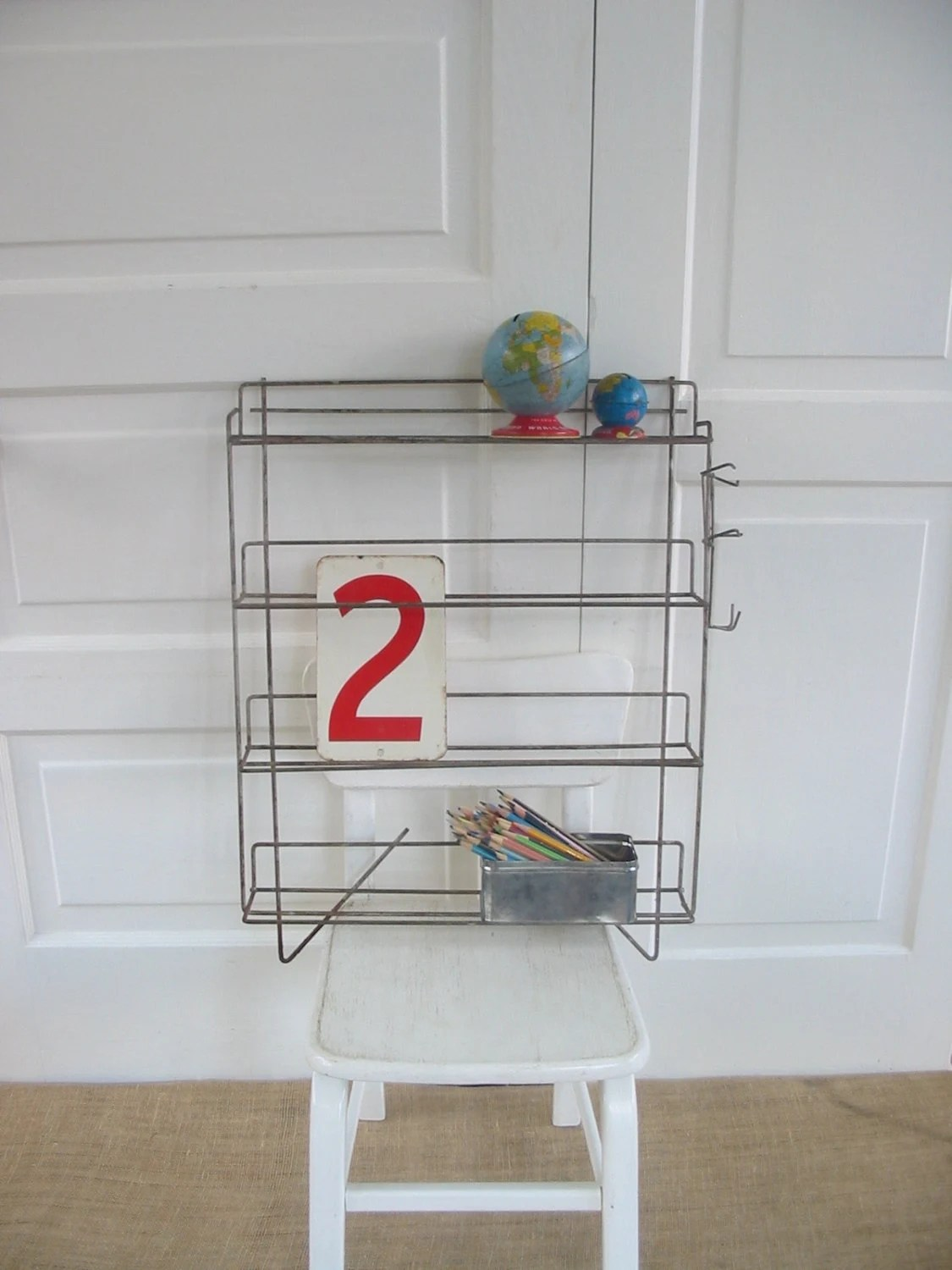 Vintage Wire Metal Shelf Rack Store Display Industrial