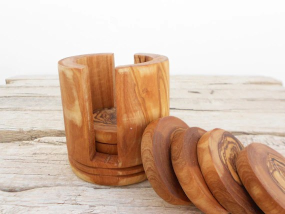 Wooden Coaster Set With Holder Wooden Round Coasters