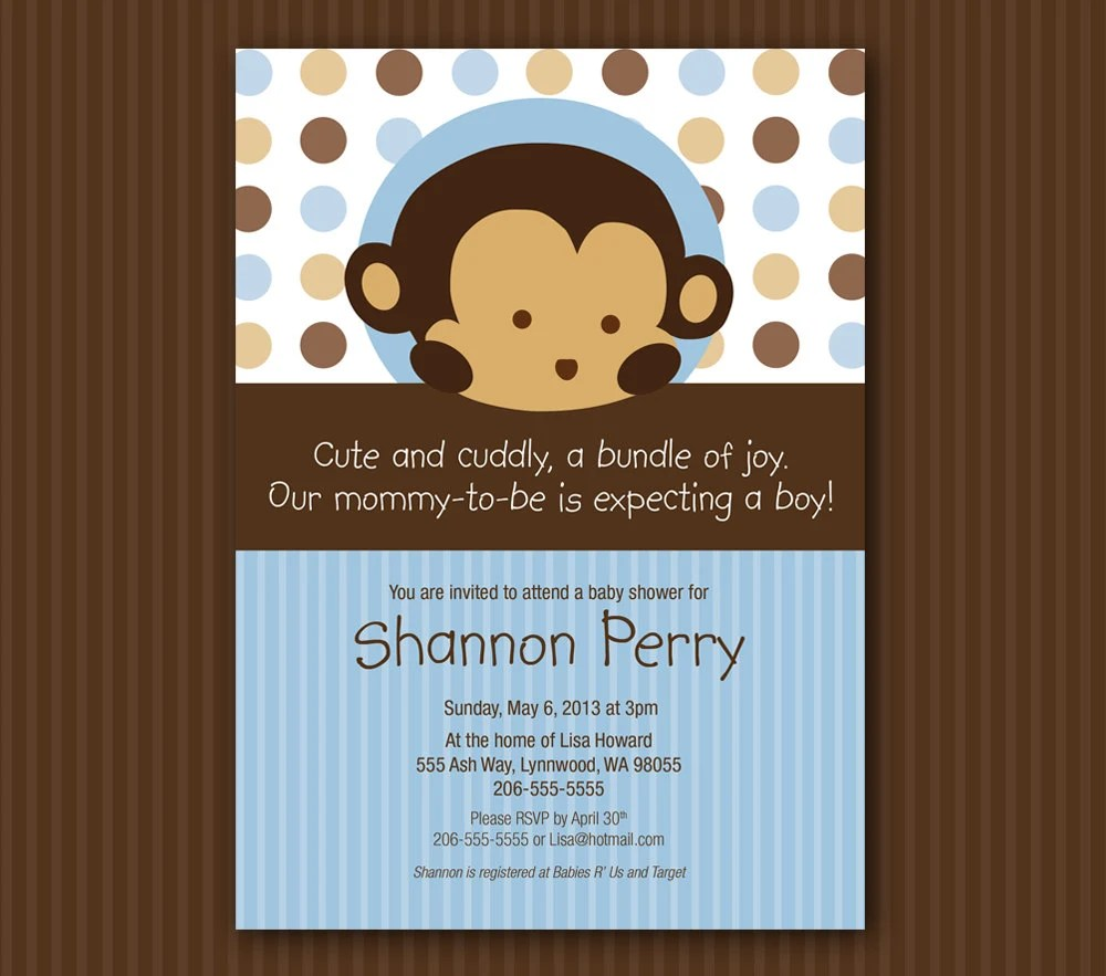 Blue Monkey Baby Shower Invitation Digital File INSTANT DOWNLOAD - baby shower invitations for word templates