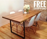 Dining Table Kitchen Table Metal Base Reclaimed by AtelierEben