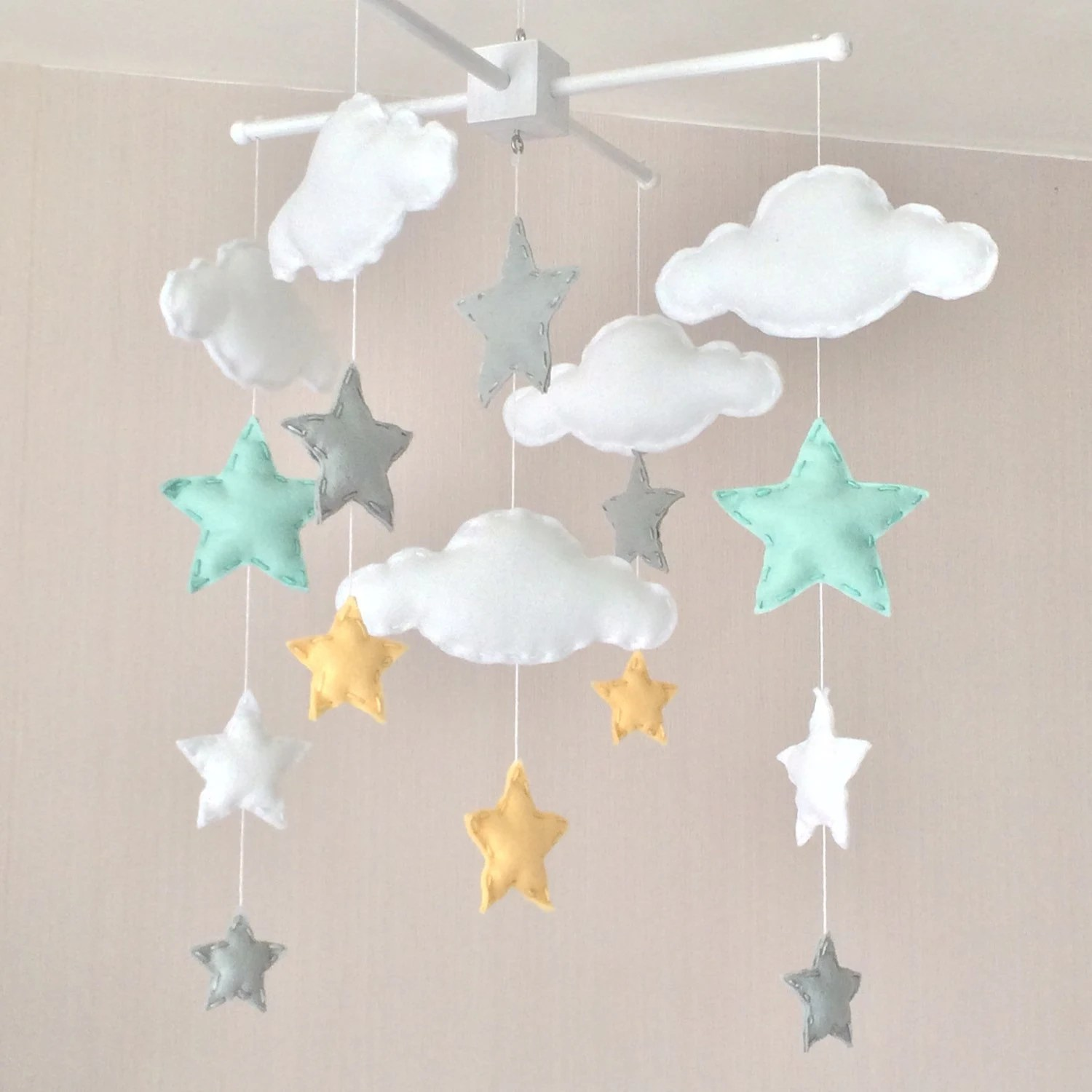 Baby Musical Mobile Australia Baby Mobile Cot Mobile Clouds And Stars Cloud Mobile
