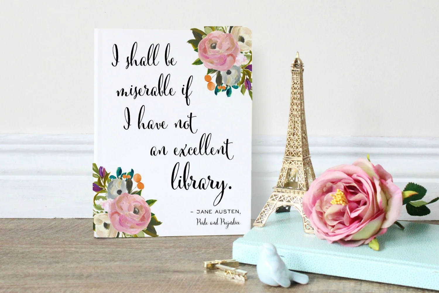 Art For Book Lovers Jane Austen Quote Pride And Prejudice Wall Art Print For