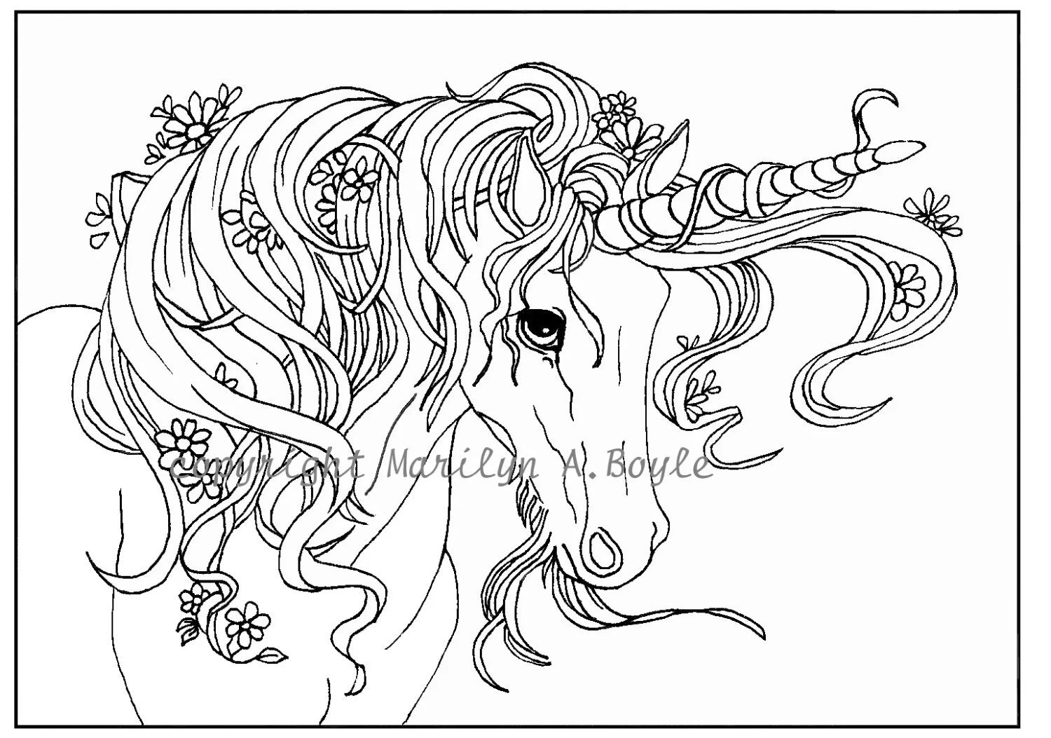 Adult coloring page digital download unicorn flowers garden fantasy easy for a child too
