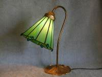 RESERVED FOR VALERIE Gooseneck Lamp with Stained Glass Shade