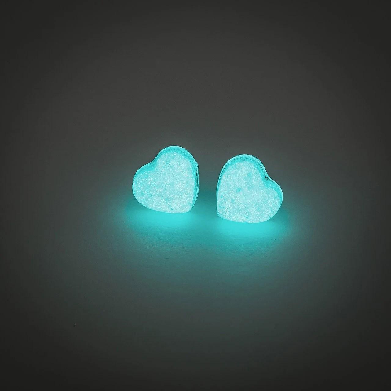 Glowing earrings glow in the dark heart earrings by