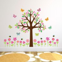 Tree With Flowers Butterflies and Bees Wall Stickers Girls