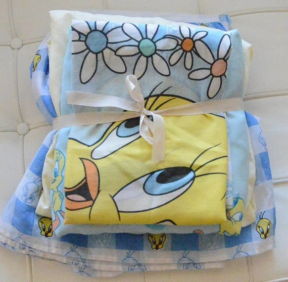 TWEETY BIRD bedroom linens bedskirt sheets and by SmallPlanets