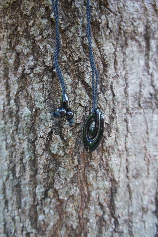 Beautiful Hawaiian Black Jade Spiral Necklace Carving Design
