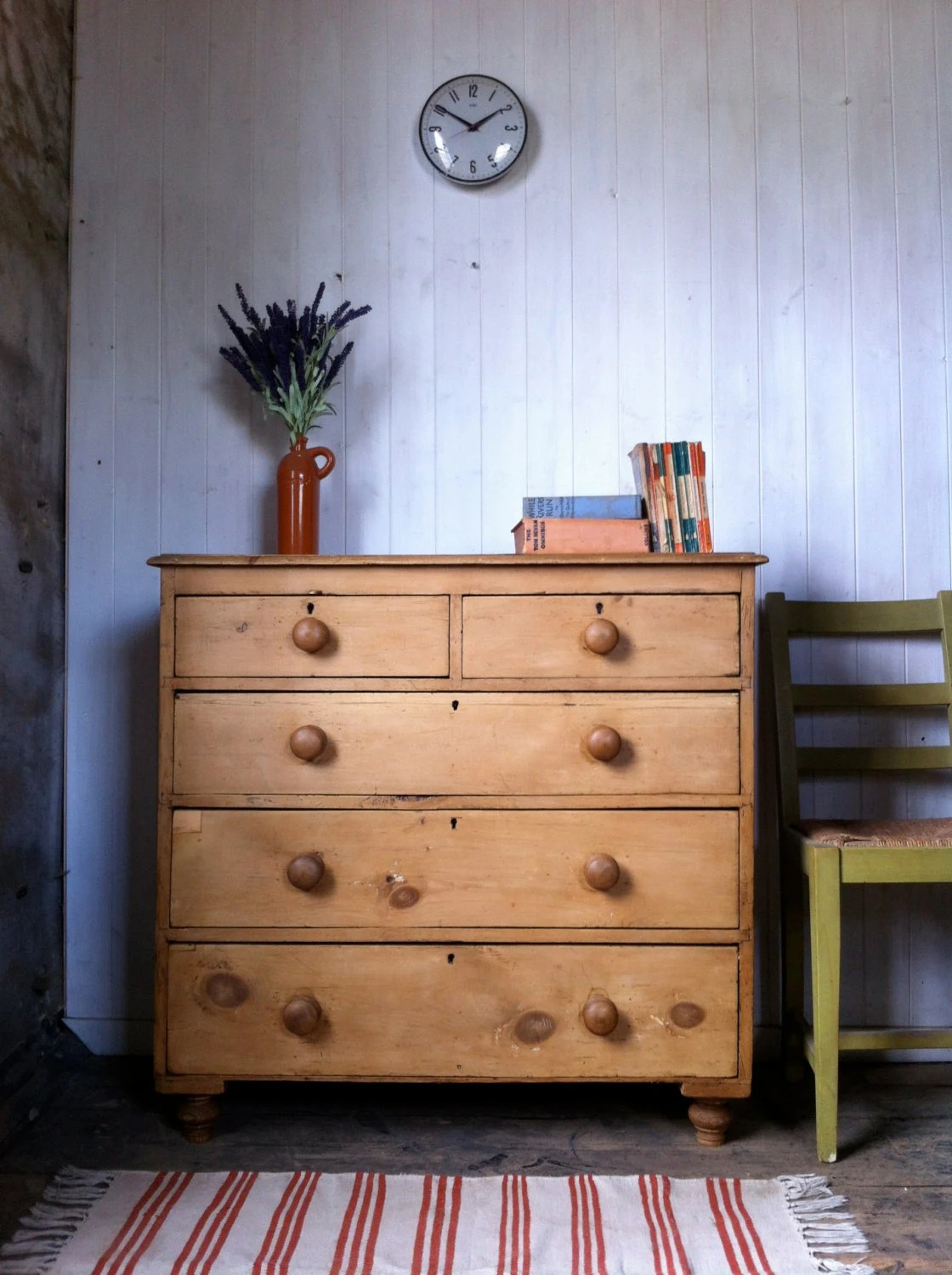 Waxed Pine Chest Of Drawers Large Antique Rustic Victorian Waxed Solid Pine 2 Over 3