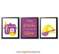 Purple and yellow kitchen wall art UNFRAMED kitchen