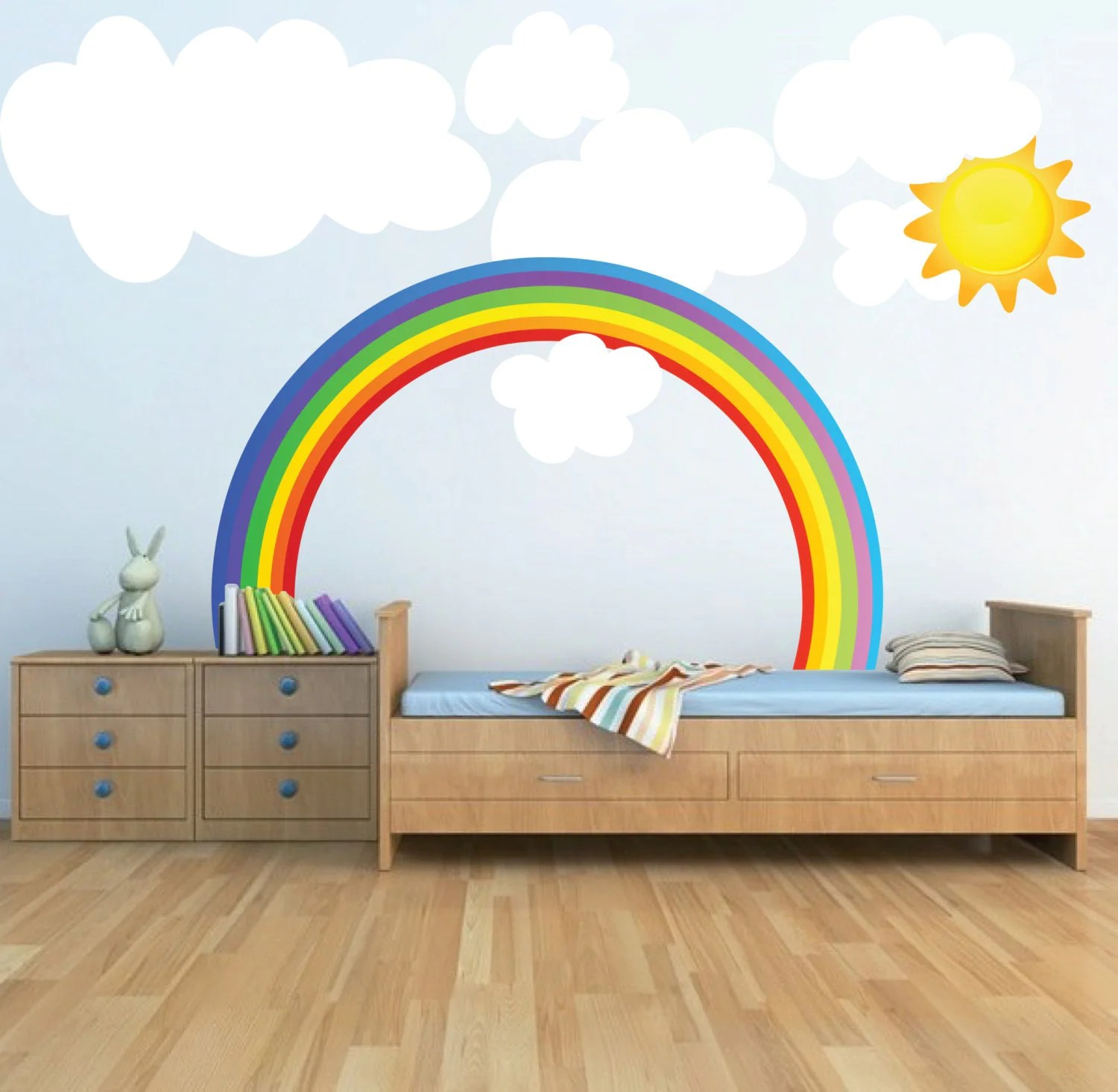 Rainbow Kids Rooms Sun Wall Decal Mural Sun Art Sticker Nursery Sun By Primedecal