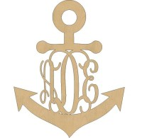 2636 Unfinished Wooden Anchor Monogram Unpainted