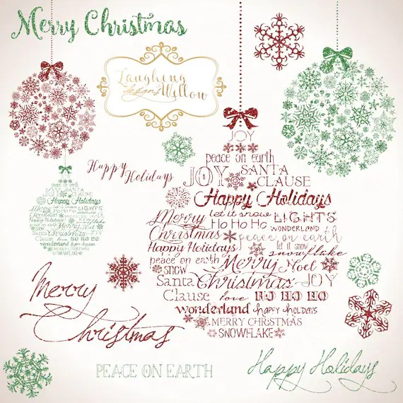 Christmas Clipart PRINTABLE DOWNLOAD Digital Art Graphics from