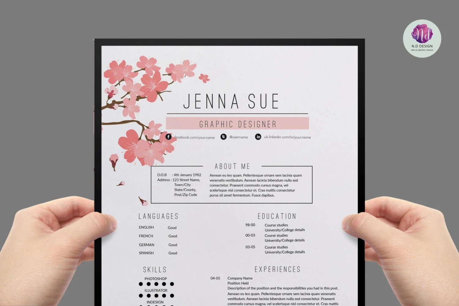 cv design jenna sue