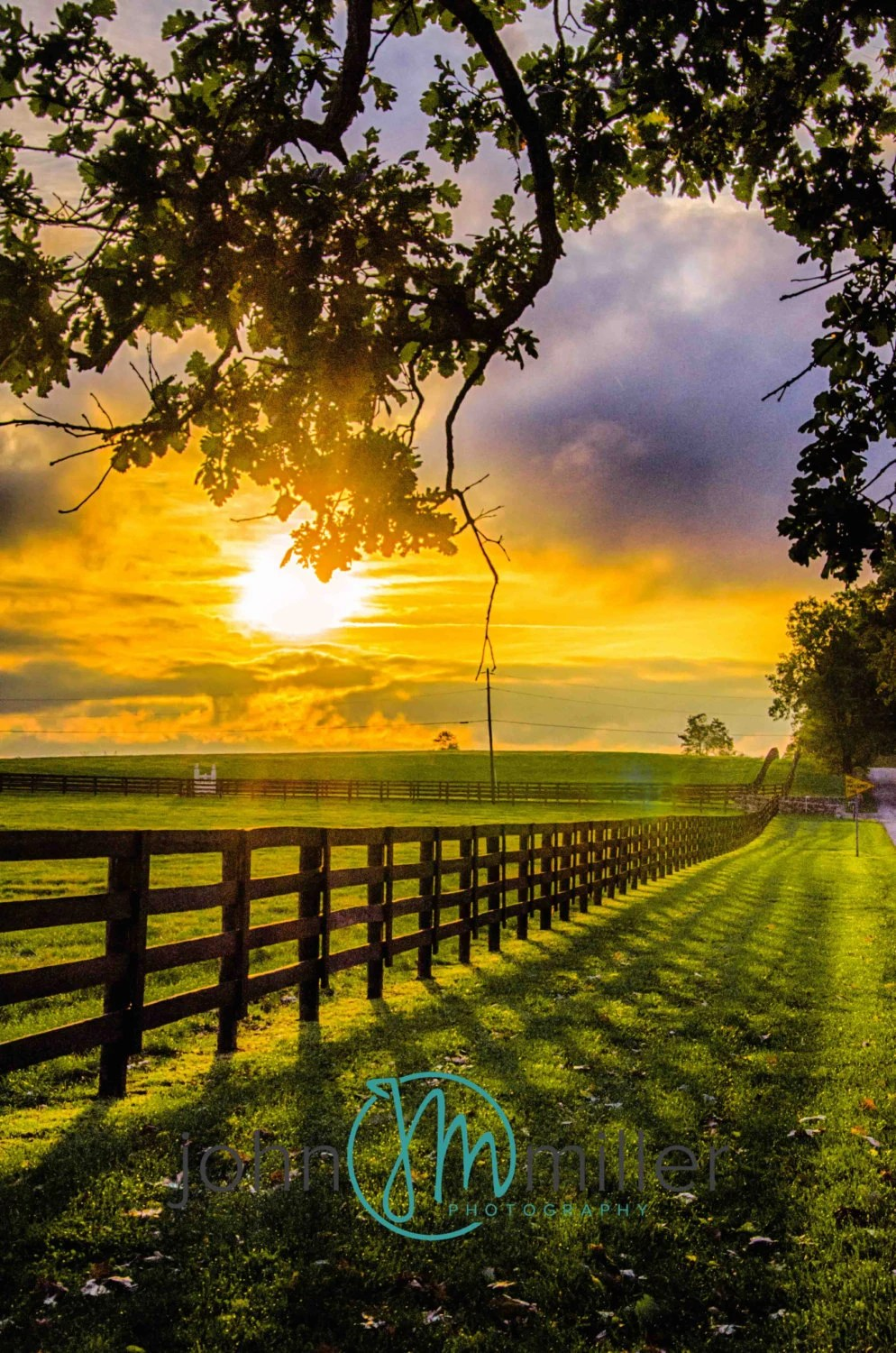 Fall Paintings Wallpaper Country Sunrise Farm Fence Rural Shadow Plank Fence