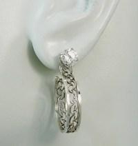 Sterling Silver Filligree Earring Jackets Dangling Hoop Ear