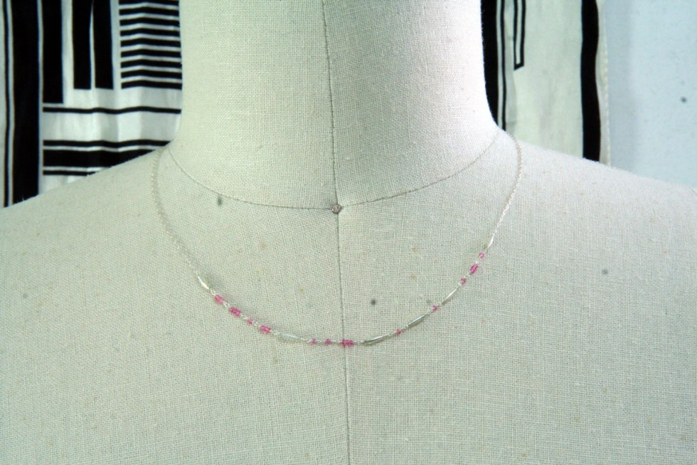 Pink Morse Code necklace ...