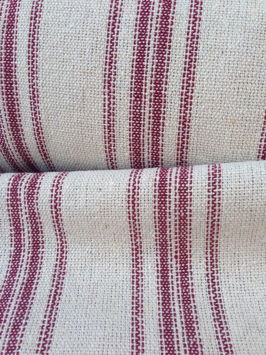 Flour Sack Fabric By The Yard Grain Sack Fabric Red Stripes Vintage Inspired Sold By The