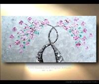 Shiny Tree Painting Wall art Metallic Silver Background Pink