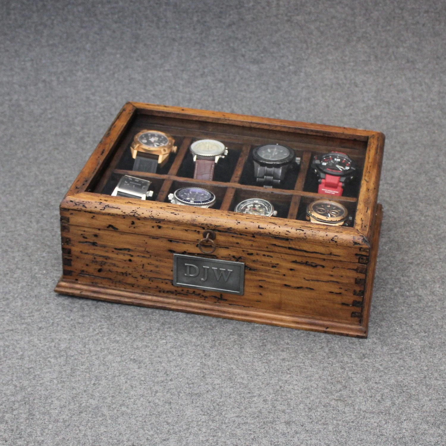 New Personalized Rustic Men39s Watch Box For 8 By